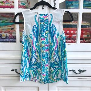 Lilly Pulitzer silk tank gold buttons down back